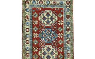 Hand-Knotted Kazak Tribal and Geometric Design Oriental