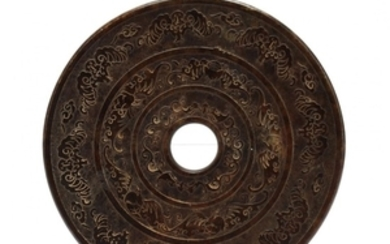 A Large Carved Hardstone Bi Disc, Chinese