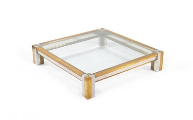 Maison Jansen (manner of), a large chrome and brass coffee table