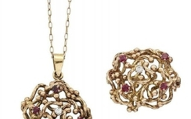 A ruby and diamond brooch and pendant...
