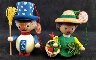 Set of 2 Steinbach GMBH German Wooden Toy Ornaments B