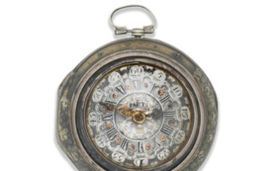 Tarts. A continental silver, gilt metal and shagreen triple cased key wind pocket watch with repoussé decoration for the Dutch market