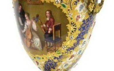 FRENCH HAND-PAINTED BRONZE-MOUNTED PORCELAIN URN