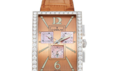 Corum. An Oversized White Gold and Diamond-set Chronograph Wristwatch with Date and Pink Mother-of-Pearl Dial