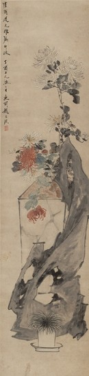 CHRYSANTHEMUMS AND ROCK, Zhao Zhichen 1781-1852