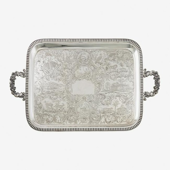 FINELY ENGRAVED AMERICAN COIN SILVER TWO-HANDLED TRAY