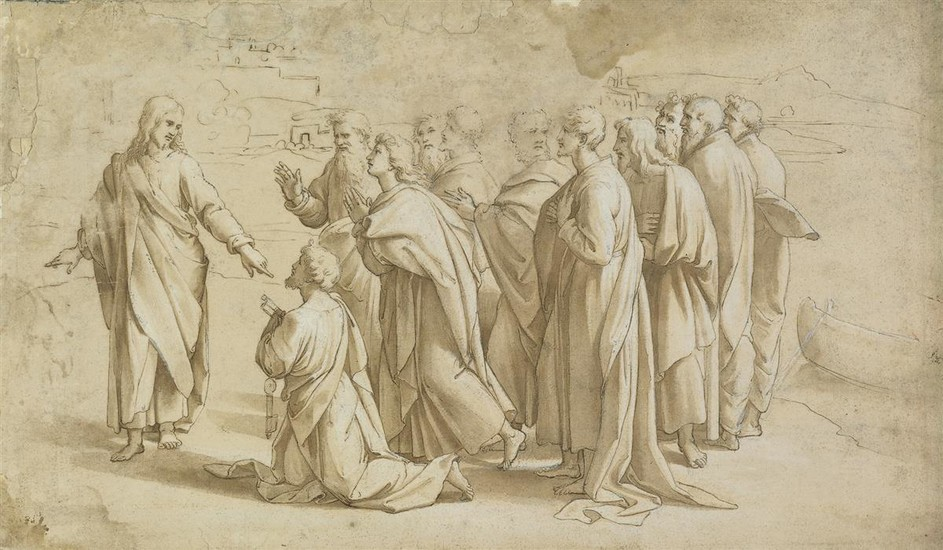 RAFFAELLO SANZIO DA URBINO (CIRCLE OF) (Urbino 1483 1520 Rome) Christs Charge to Peter.