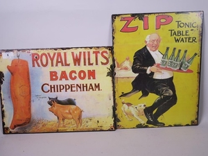 Lot Art Two Small Metal Replica Advertising Signs For Royal