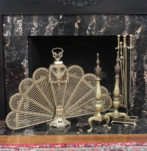 Lot Art Vintage Brass Fireplace Tools And Screen