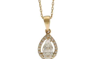 A diamond pendant set with a pearh shaped diamond encircled by numerous brilliant-cut diamonds, mounted in 14k gold, on a necklace of 14k gold. (2)
