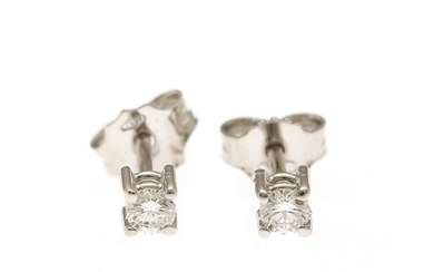 A pair of diamond solitaire ear studs each set with a brilliant-cut diamonds totalling app. 0.23 ct., mounted in 18k white gold. (2)