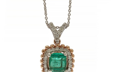 Emerald and diamond pendant set with an emerald-cut emerald and numerous brilliant-cut diamonds, mounted in 14k white and rose gold. (2)