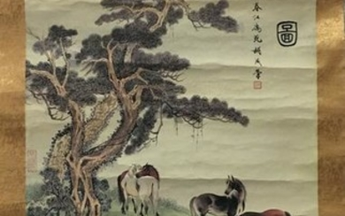 Chinese Water-Color Painting of Horses