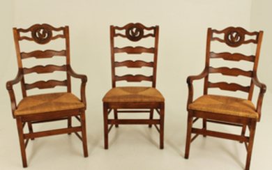 SET OF 8 FRENCH PROVINCIAL STYLE FRUITWOOD CHAIRS