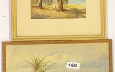 A small framed watercolour desert scene signed M. Preston together with a further watercolour and a pastel of a lady, largest framed size 31