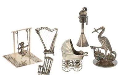 (6) Lot Miniatures w.o pram, snotneus(oillamp), harp and swing silver.