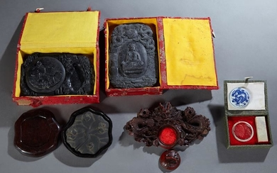 Group of Five Oriental Sealing Wax Holders, 20th c.,