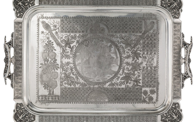 A Simpson, Hall, Miller & Co. Silver-Plated Tray (late 19th centur)