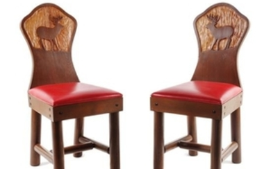 Pair of Contemporary Carved Wood Chairs by New West