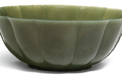 A LARGE MUGHAL OR DECCAN CARVED JADE BOWL, INDIA, CIRCA 17TH CENTURY
