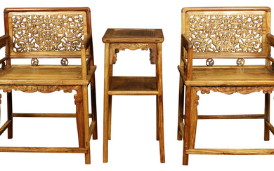 Chinese Wooden Armchairs and Stand