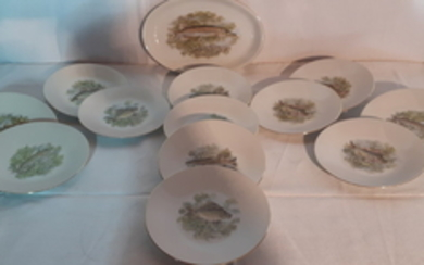 13 PC. PORCELAIN FISH SERVICE