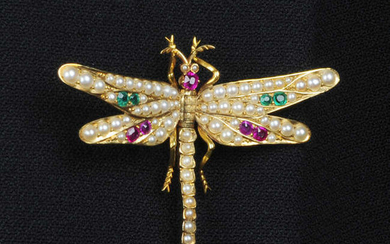An early 20th century 15ct gold, split pearl, emerald and ruby dragonfly clip.
