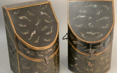 Pair of Japanese export Nagasaki lacquered knife boxes,