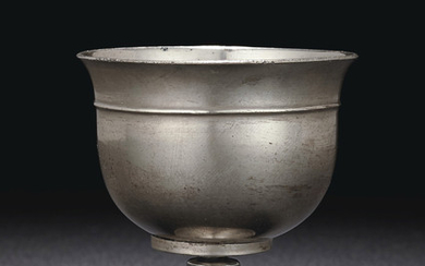 A RARE PLAIN SILVER STEM CUP, TANG DYNASTY (AD 618-907)