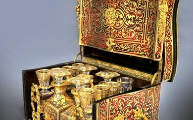 19th C. French Bronze Mounted Boulle Tantalus a Liqueur