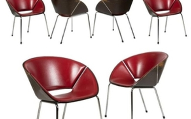 Bentwood and Chrome Clam Chairs - Six