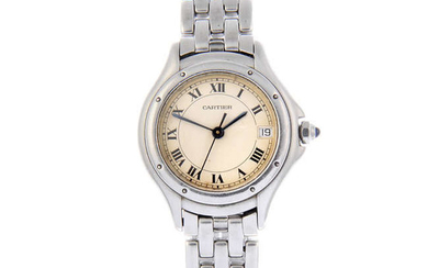 CARTIER - a lady's stainless steel Cougar bracelet watch.