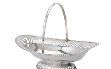An Edwardian silver oval basket by T. Wooley