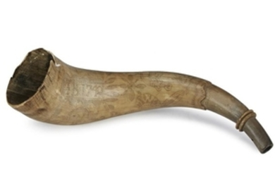 """Engraved powder horn Initialed """"I. B."""" and dated """"1782""""..."""