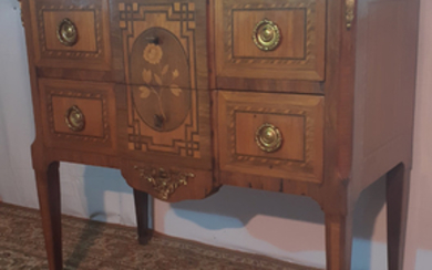 FRENCH MARQUETRY AND INLAID MARBLE TOP COMMODE