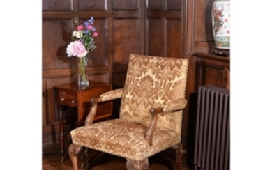 A George II walnut Gainsborough armchair
