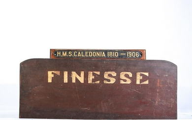 """""""H.M.S CALEDONIA"""" & """"FINESSE"""" NAME BOARDS."""