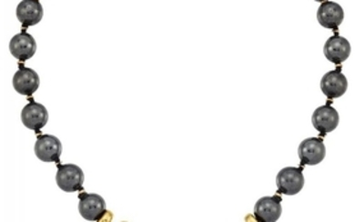 A haematite necklace with panel clasp, by...