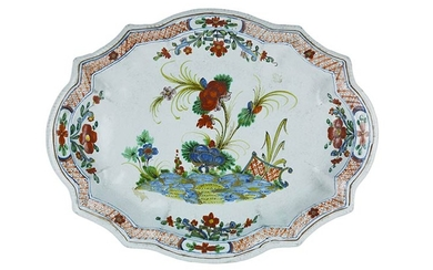 Large tray Tray with a small arched brim, decorated in...