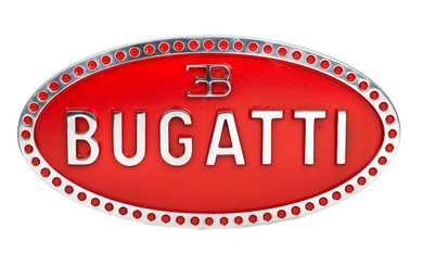 A painted cast aluminium sign depicting the Bugatti emblem,