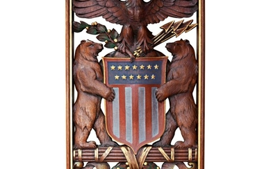RARE CARVED, PARCEL GILT, AND POLYCHROME PAINT-DECORATED WOOD COMMEMORATIVE NATIONAL SEAL FOR PRESIDENT THEODORE ROOSEVELT, EARLY 20TH CENTURY