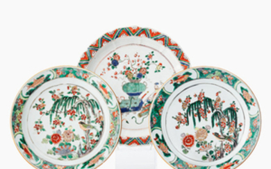 Three Chinese famille verte dishes