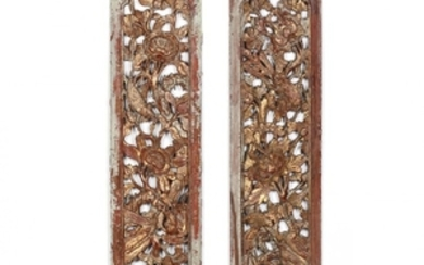 Two of Chinese Architectural Carved and Gilt Panels