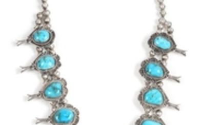 Southwestern Silver and Turquoise Squash Blossom Necklace