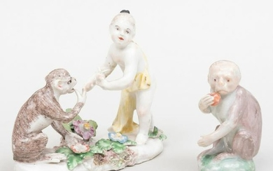 Bow Porcelain Figure Group of Monkey with Fruit and