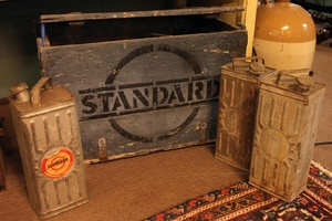 Rare early 20th C. wooden Standard Oil advertising crate com...