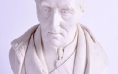 A 19TH CENTURY PARIAN WARE BUST OF THE DUKE OF