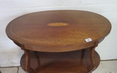 An Edwardian two tier inlaid oval table - 69cm tall x 68cm x...