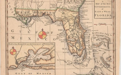 """A Map of the New Governments, of East & West Florida"", Gibson, John"