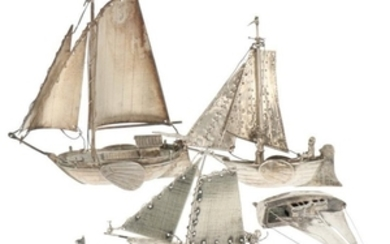 (5) Lot Miniatures with various ship models silver.